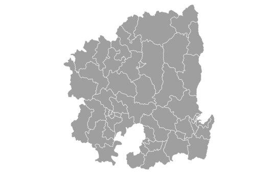 Grey blank North Gyeongsang South Korea map.