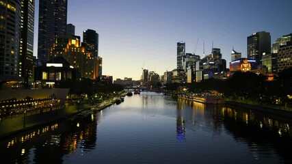 Fototapete - night, Yarra River, Melbourne, Victoria, Australia