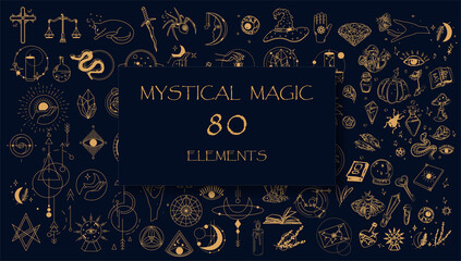 Fototapeta Witch Magic, Mystical and Astrology objects symbols. Doodle esoteric, boho mystical hand drawn elements. Magic and witchcraft, witch esoteric alchemy. Tattoo alchemy and esoteric. Minimalistic objects obraz