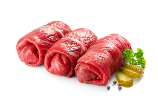 Raw beef roulades isolated on white