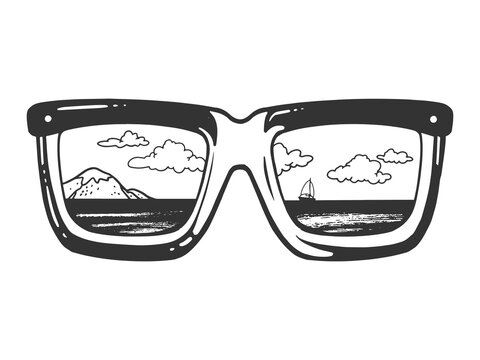 Landscape is reflected in sunglasses sketch engraving vector illustration. T-shirt apparel print design. Scratch board imitation. Black and white hand drawn image.