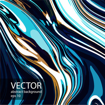 Abstract vector modern fluid art. Texture colored chrome, liquid marble, alcohol ink, acrylic. Trendy background in blue, gold color for background design