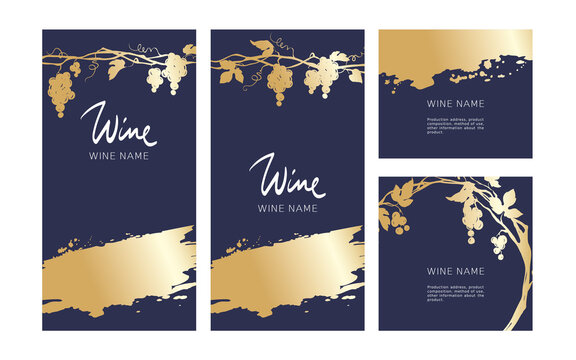 Collection labels for wine. Vector illustration, set of navy blue backgrounds with grapes and gold strokes.
