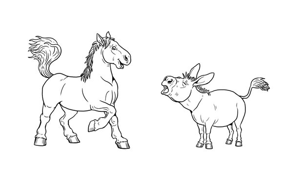 Funny horse and donkey. Funny farm animals. Template for children to paint.