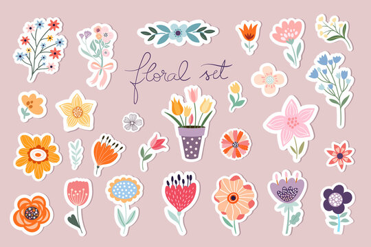Springtime stickers, magnets collection with decorative floral design