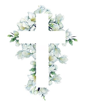 Watercolor illustration. Christian cross made of green leaves, white flowers.  Design for Easter, baptism, christening, cards, paper, invitations, scrapbooking, textiles, wrapping