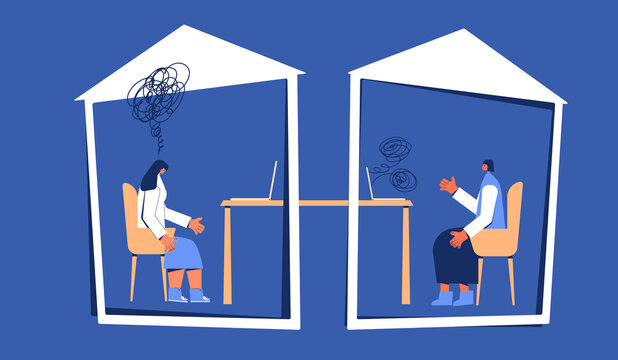 Online stress therapy scene. Teletheraphy. Color vector flat.