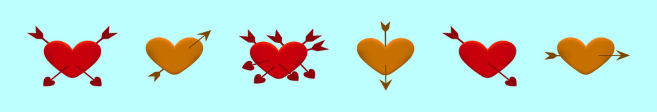 set of arrow through heart cartoon design template with various models. vector illustration isolated on blue background