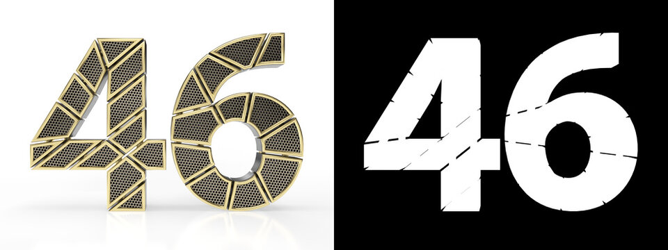 Number forty-six (number 46) with perforated gold segments