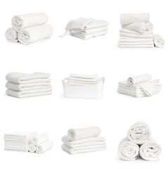 Fototapeta set of white beach towels isolated on white background
