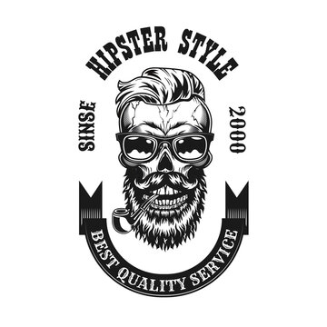 Antique hipster skull with smoking pipe vector illustration. Vintage emblem with bearded dead head in eyeglasses for tobacco store. Hipster lifestyle concept can be used for retro template