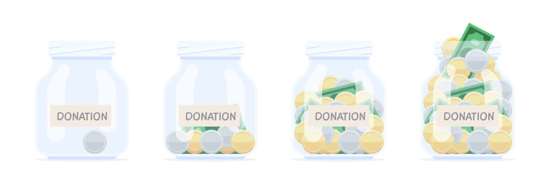 Donation banks with money coins and banknotes. The concept of charity, social assistance. Accumulation of tips and donations. Vector illustration isolated on white background