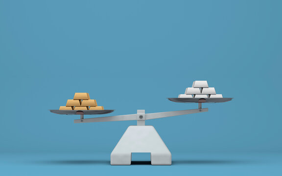 polished gold and silver bars on scales - 3D Illustration