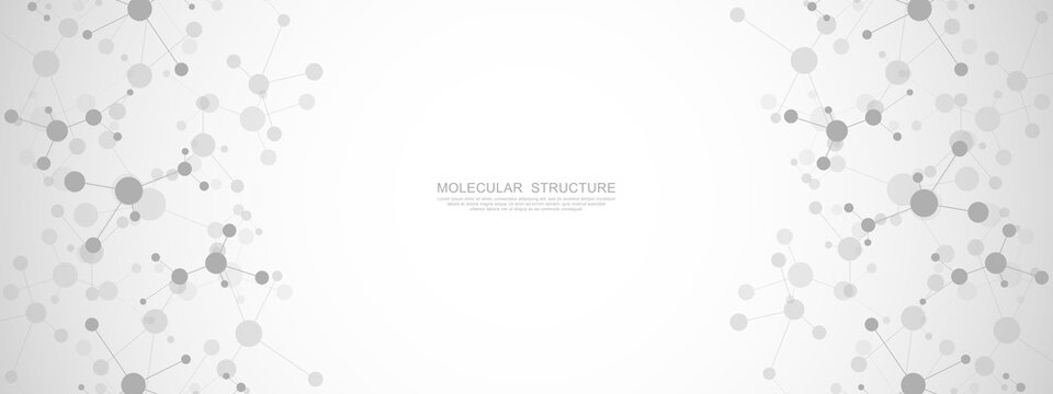 Vector illustration of molecular structure and genetic engineering, molecules DNA, neural network, scientific research