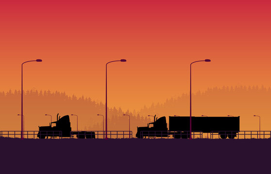 silhouette american truck with trailer container with forest mountain landscape on orange gradient background