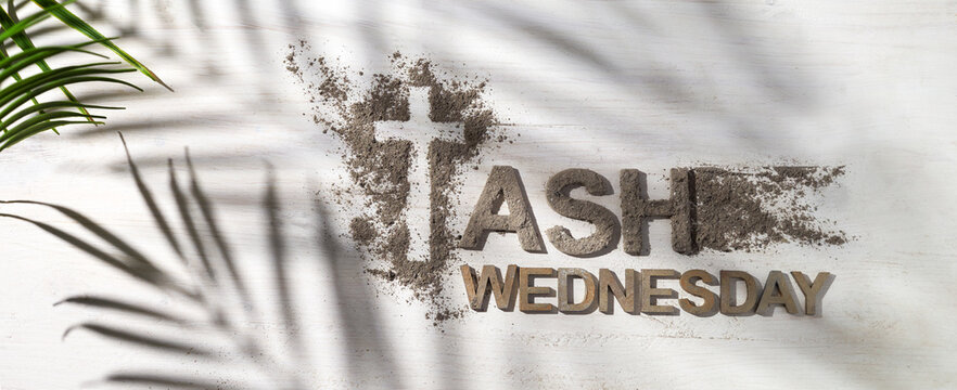 Ash wednesday, crucifix made of ash, dust as christian religion. Lent beginning