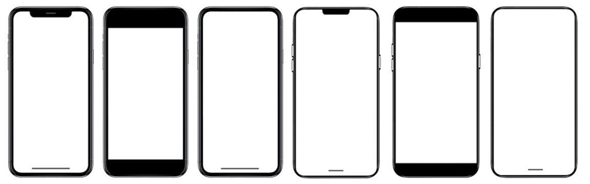 Smartphone frameless mockup. Studio shot of Smartphone with blank screen for Infographic Global Business web site design app, Content for technology - include clipping pat...