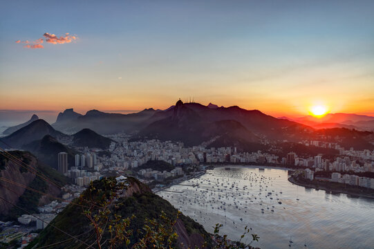 Corcovado hill and Botafogo bay seen from the Sugar Loaf.