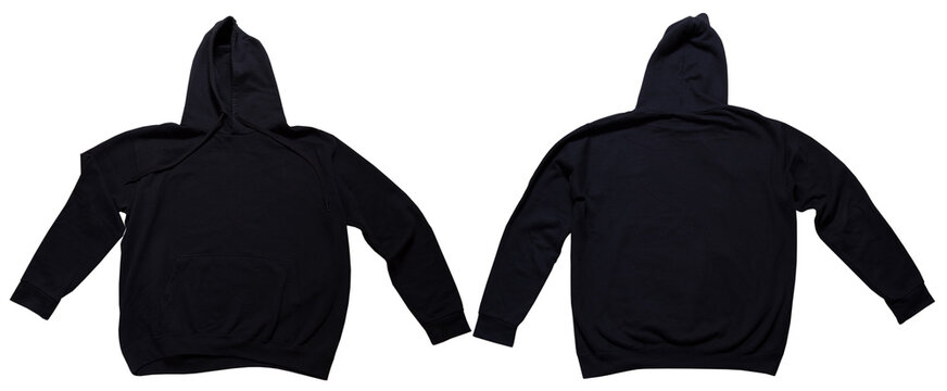 Black hoodie mock up set front and back view. Hoody isolated on wgite background, sweatshirt mock up. Hoodie mockup isolated over white