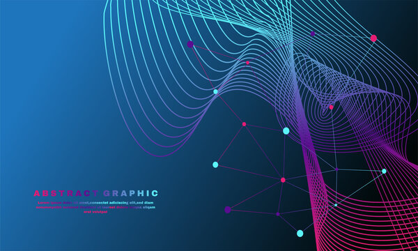 Awesome geometric abstract background with connected lines and wave flow molecule and communication