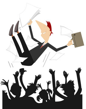 Happy people toss up a man with papers and bag illustration