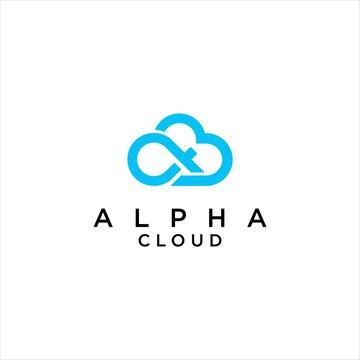 Creative Alpha Symbol and Cloud Logo Vector Illustration