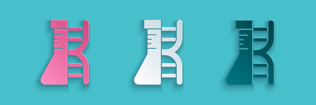 Paper cut DNA research, search icon isolated on blue background. Genetic engineering, genetics testing, cloning, paternity testing. Paper art style. Vector.