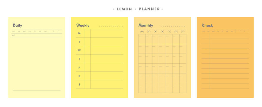 4 Set of the Daily, Weekly, Monthly and Check memo planner (Lemon). Retro planner Bullet journal memo pad. Clear and simple printable to do list. Realistic vector illustration.