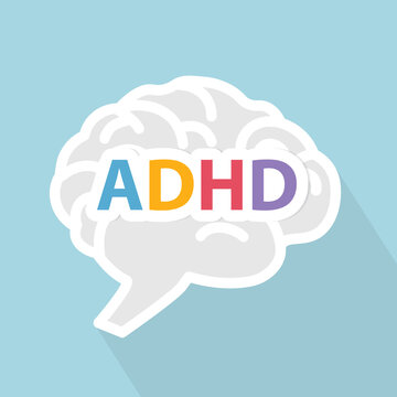 ADHD (Attention Deficit Hyperactivity Disorder) wrriten on brain - vector illustration