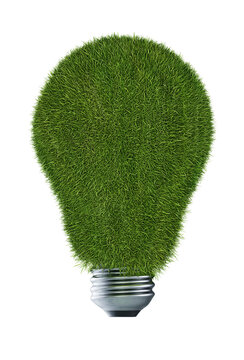 grass bulb eco friendly green energy isolated render 3d