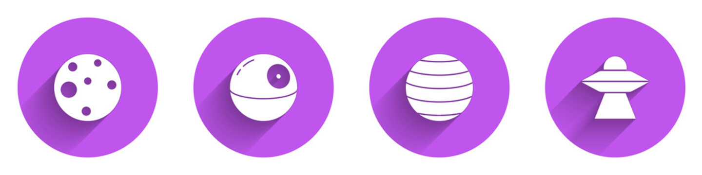Set Planet Mars, Death star, Venus and UFO flying spaceship icon with long shadow. Vector.