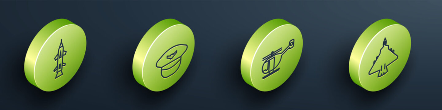 Set Isometric Rocket, Pilot hat, Helicopter and Jet fighter icon. Vector.