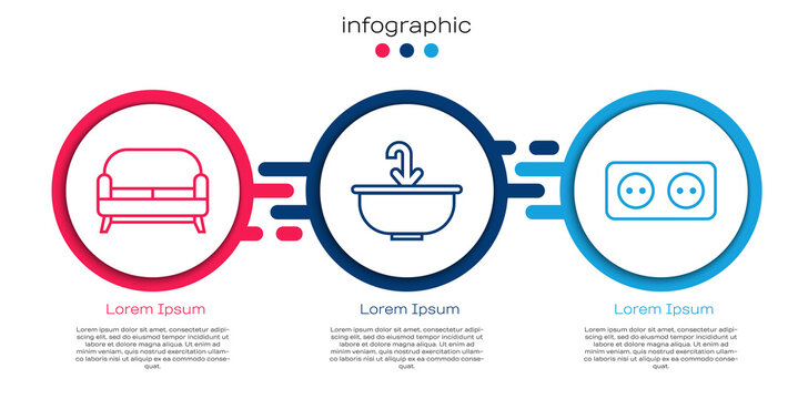 Set line Sofa, Washbasin with water tap and Electrical outlet. Business infographic template. Vector.