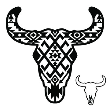Cow skull with Aztec pattern. Vector illustration auroch skull with hornes and southwest traditional ornament isolated on white background for design.