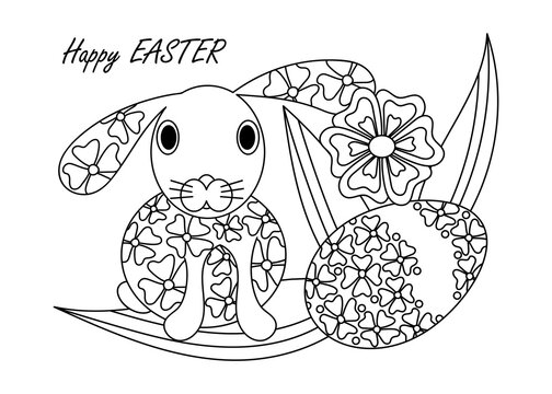 Coloring book for adults and children. Bunny silhouette. Easter egg and flowers, art therapy. Hand drawn vector illustration