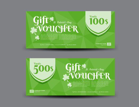 St. Patrick's Day Gift voucher card, Green Gift Voucher template, coupon design, certificate, ticket template, discount card, sale banner design, Voucher design,  vector illustration