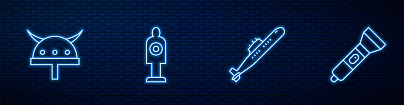 Set line Submarine, Viking horned helmet, Human target sport for shooting and Flashlight. Glowing neon icon on brick wall. Vector.