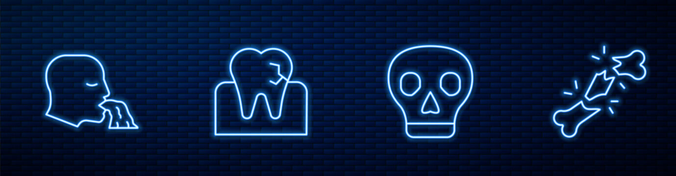 Set line Skull, Vomiting man, Tooth with caries and Human broken bone. Glowing neon icon on brick wall. Vector.