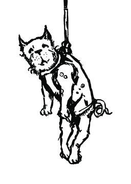 Little dog hanging on leash. Ink vector illustration.