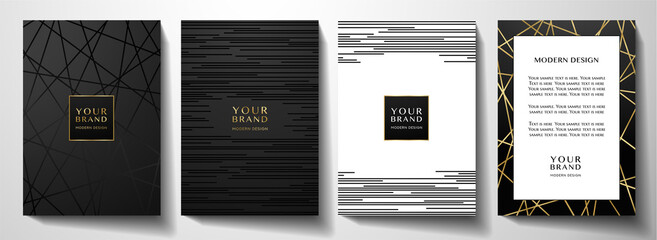 Fototapeta Modern black cover design set. Luxury creative line pattern in premium colors: black, gold and white. Formal vector for notebook cover, business poster, brochure template, magazine layout