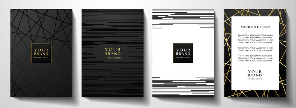 Modern black cover design set. Luxury creative line pattern in premium colors: black, gold and white. Formal vector for notebook cover, business poster, brochure template, magazine layout