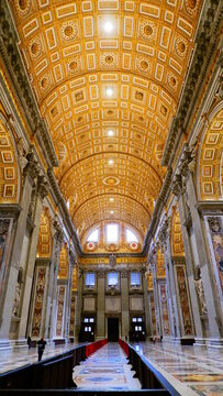 interior of the St. Peter's Basilica in Rome, Italy