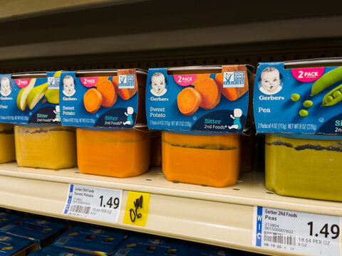 NORTH PORT FLORIDA - FEBRUARY 5, 2021 : Gerber brand baby food on grocery store shelf. Gerber is a subsidiary of Nestlé.