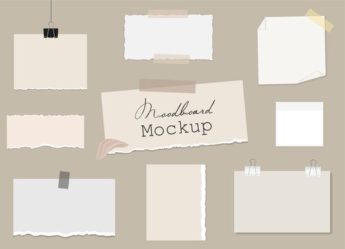 Set of of different notes on sticky tape and binder clips, pieces of torn paper, reminder cards. Mockup for modern design, presentation, social media. Vector 3d realistic. Blank template on a beige.