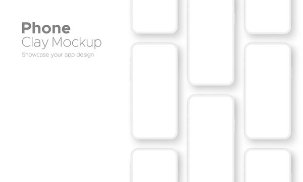 Clay Phones Screens Mockups for App Design, Isolated on White Background. Vector Illustration