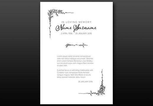 Funeral Death Notice Condolence Card Layout with Floral Elements