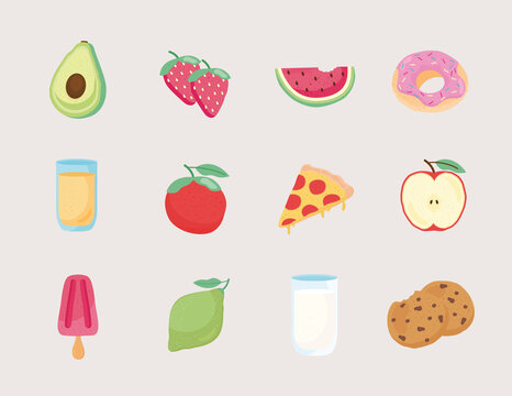 bundle of twelve fresh and delicious food icons vector illustration design