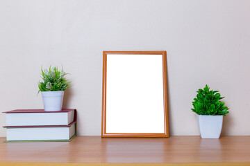 Fototapeta Mock Up White Brown Picture Frame Template For Place Image Or Text Inside With A Little obraz