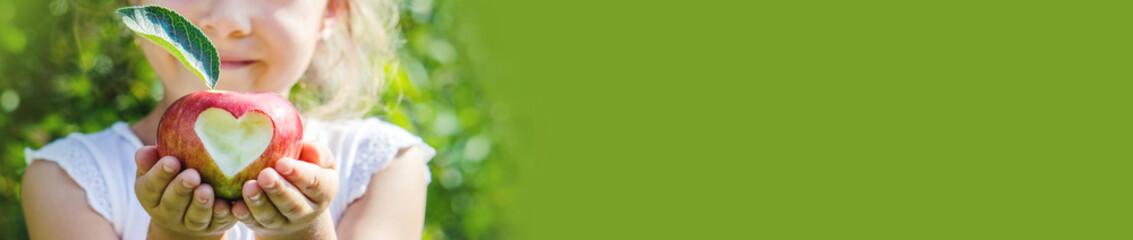 Obraz Child with an apple. Selective focus. Garden. - fototapety do salonu