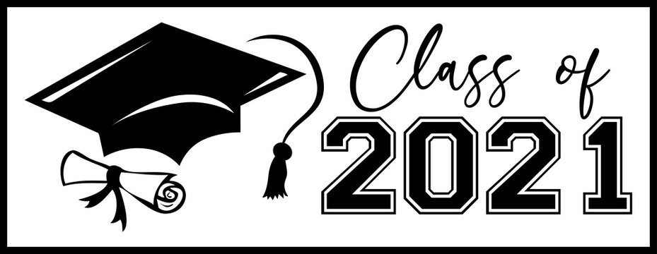 Class of 2021 Banner with Diploma and Cap